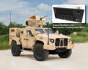 Oshkosh L-ATV (Light Combat Tactical All-Terrain Vehicle) with Aspen Systems Electronics Cooling Unit (insert)