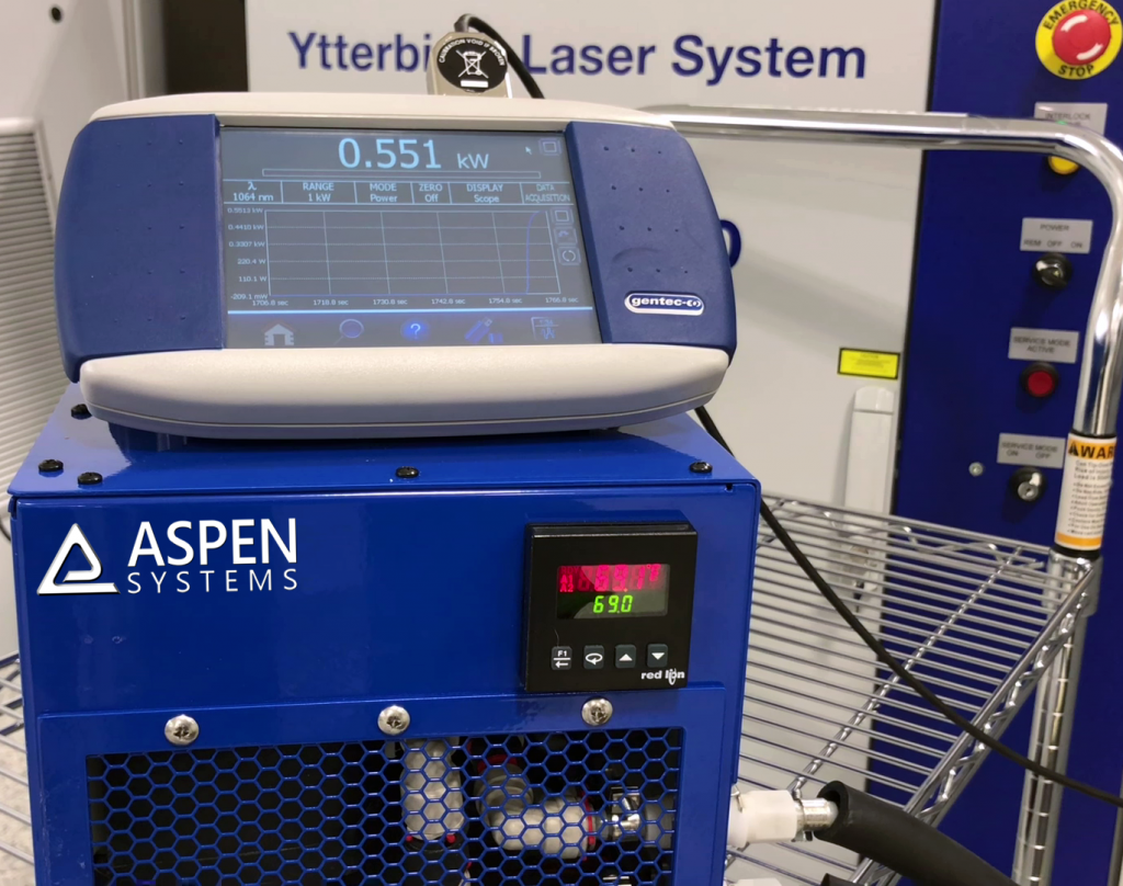 Aspen Systems LCS-600 Liquid Chiller, Gentec Maestro Display and IPG Photonics Fiber Laser