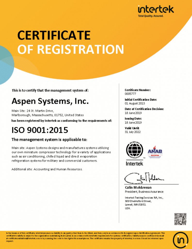 iso 9001 iso9001 registration hebeler aspen systems cert certification system confirmed continues requirements independent meet standard inc international